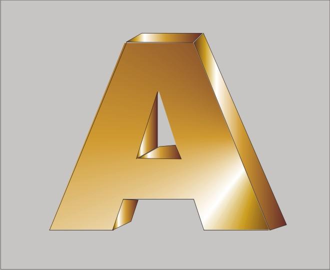 Объемная буква под золото